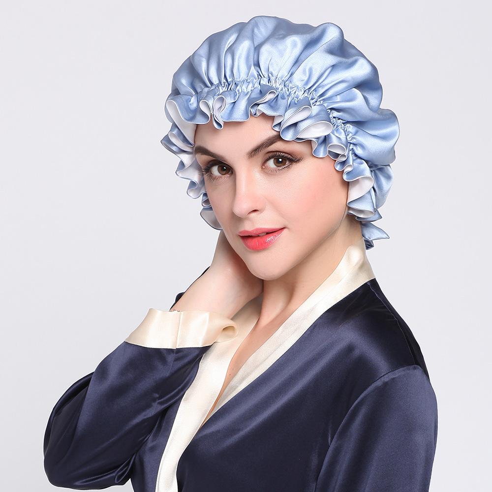 シルクナイトキャップ リボン付き室内帽子