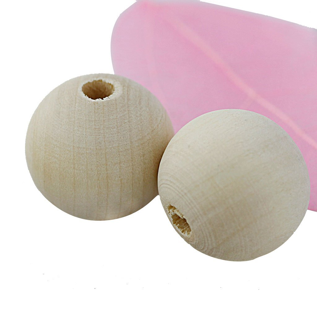 木製 未塗装 クラフト ビーズ 20mm 約50個