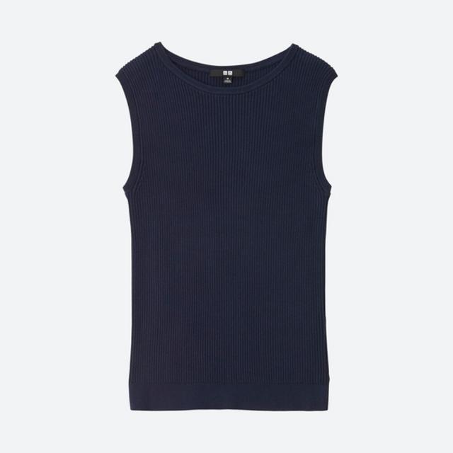 UVカットリブノースリーブセーター