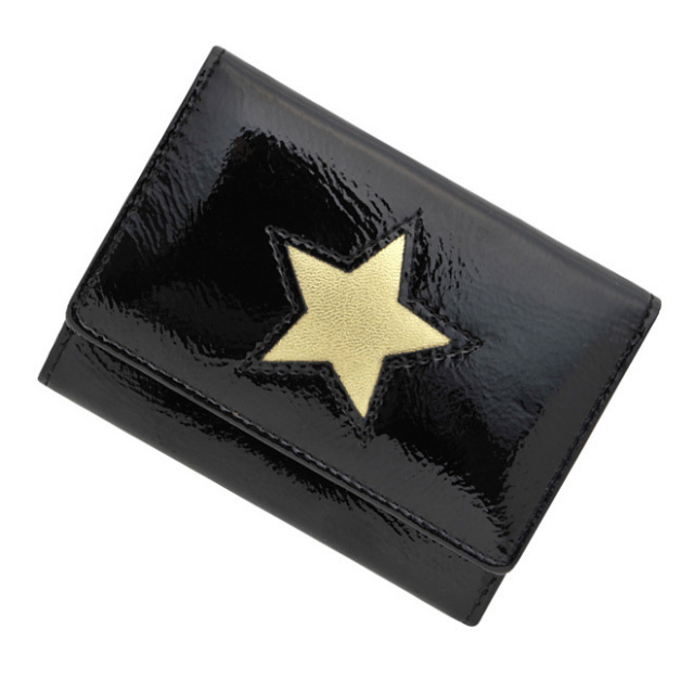 ベッカー 極小財布 進藤やす子コラボ「エナメル」星型ブラック