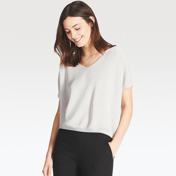 オーバーサイズVネックセーター(半袖)