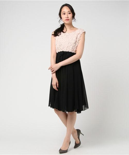 パウダーシフォン フラワーモチーフ ドレス