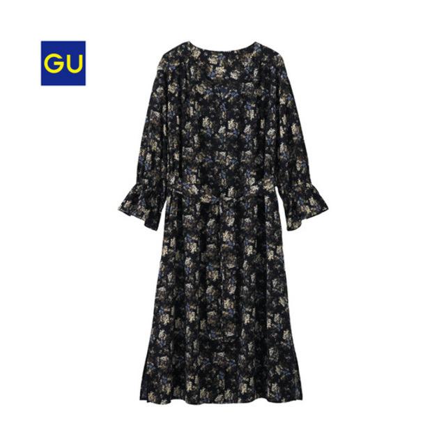 GU フラワープリントシャツワンピース(7分袖)