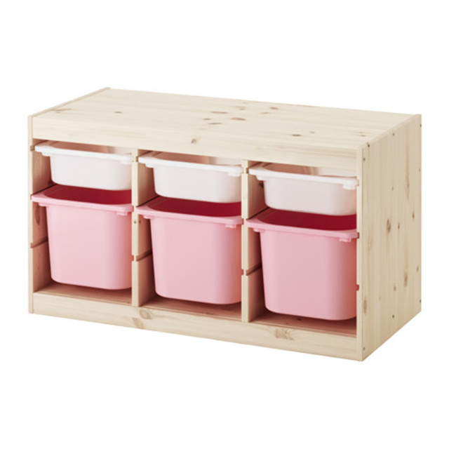 TROFAST 収納コンビネーション, パイン材 ホワイト, ピンク