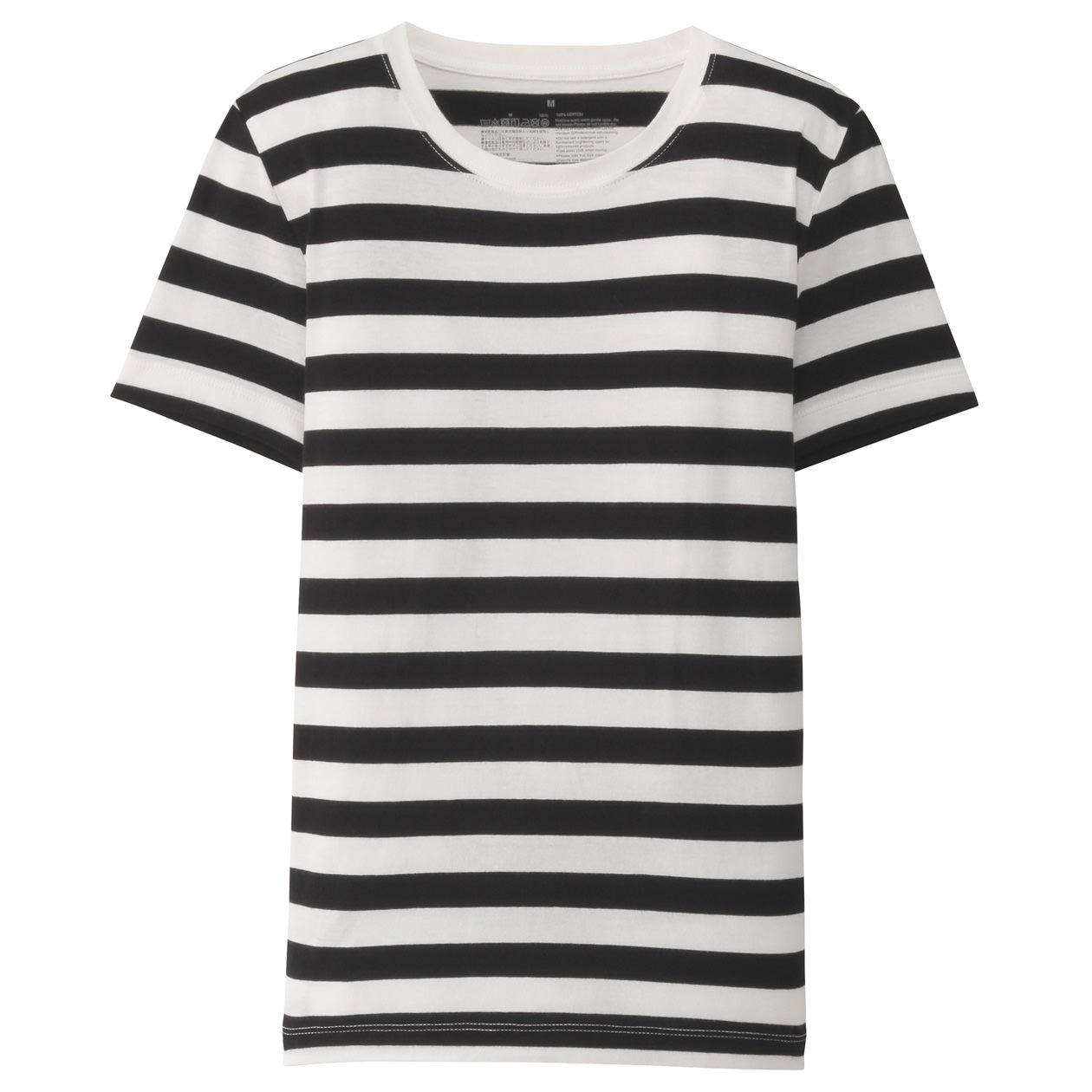 オーガニックコットンクルーネック半袖Tシャツ(ボーダー)