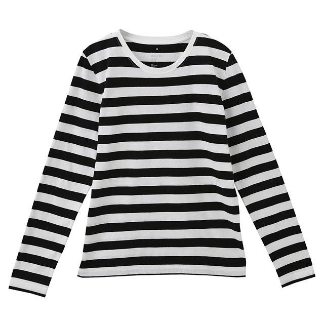 オーガニックコットンクルーネック長袖Tシャツ(ボーダー)