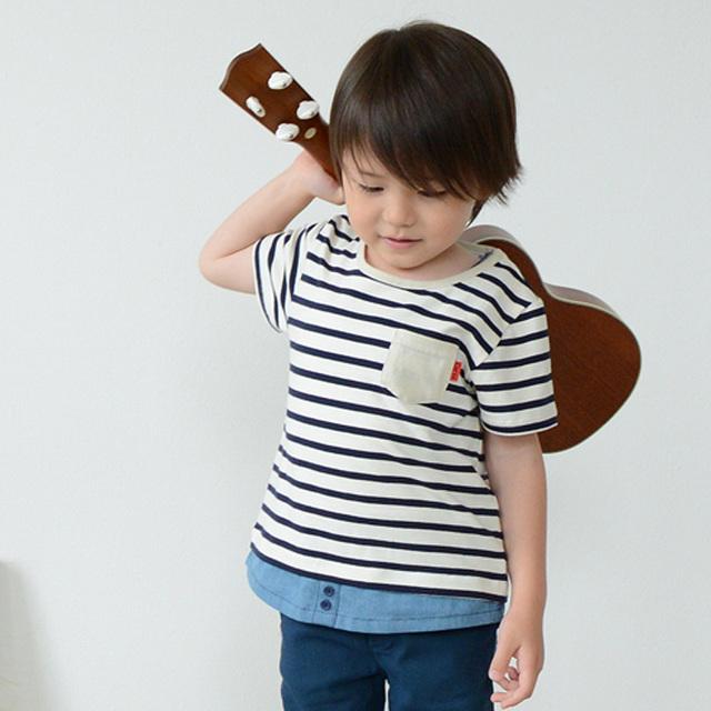 デニムボーダー半袖Tシャツ(男の子) 80-130cm