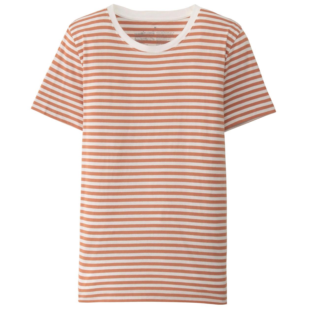 オーガニックコットンクルーネック半袖Tシャツ(ボーダー)白×スモーキーオレンジ(細)