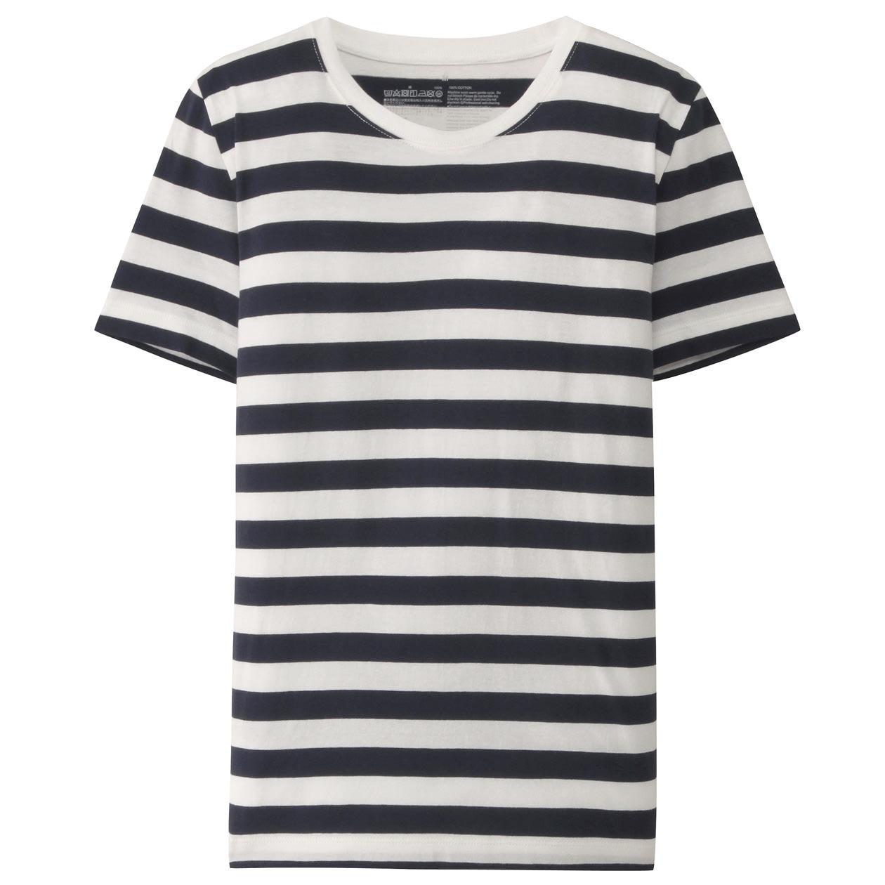 オーガニックコットンクルーネック半袖Tシャツ(ボーダー) 白×ダークネイビー