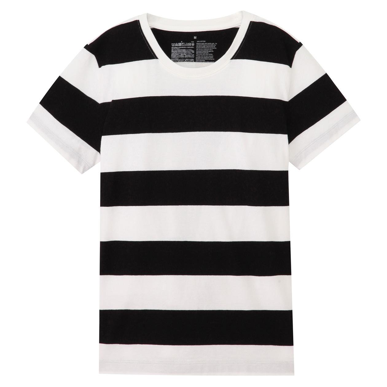 オーガニックコットンクルーネック半袖Tシャツ(ボーダー) 白×黒(太)