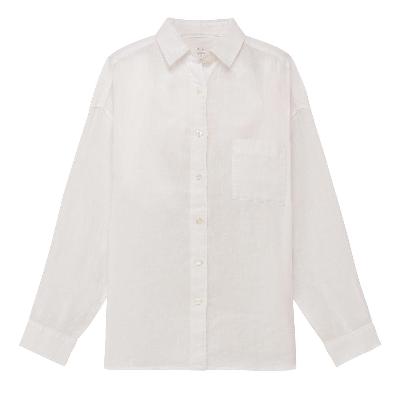 フレンチリネン洗いざらしワイドシャツ 白