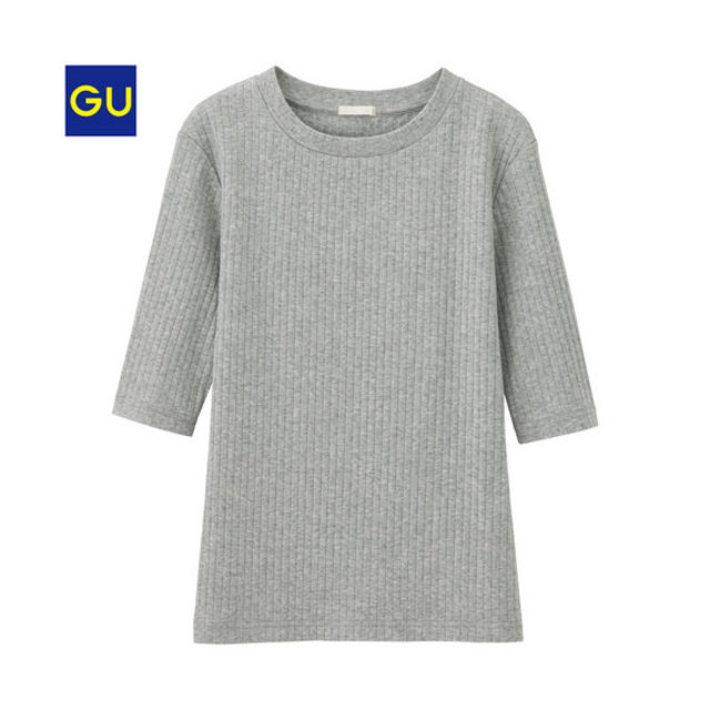 リブクルーネックT(5分袖)