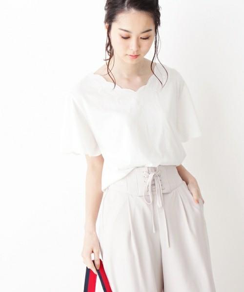 スカラップ刺繍ビッグシルエットTシャツ