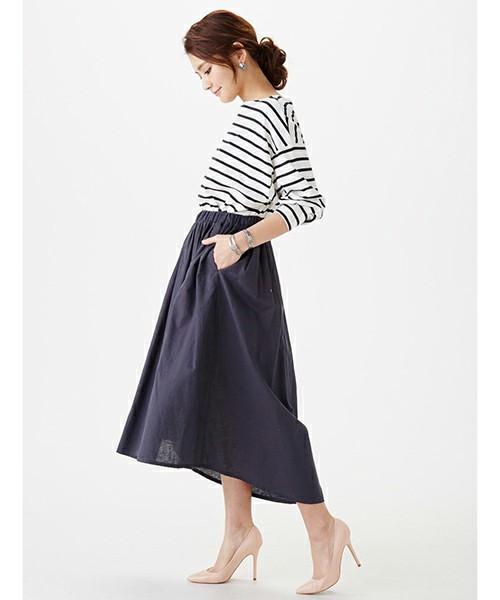 コットンリネンのフィッシュテールスカート