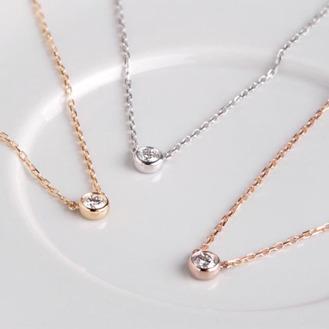 K18「ヌード」一粒ダイヤ ネックレス