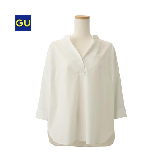 (GU)オーバーサイズスキッパーシャツ(7分袖)
