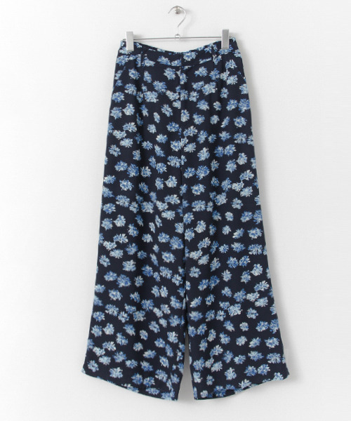 Flower Print Wide Pants