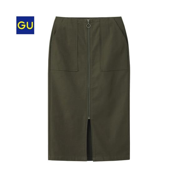 ヘリンボーンフロントジップタイトスカート