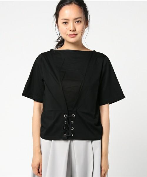 コルセット風レースアップTシャツ