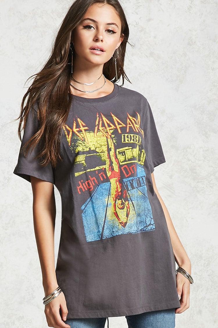 Def LeppardバックカットアウトバンドTシャツ