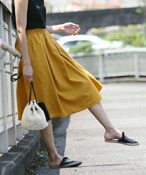 きれい色ミモレフレアスカート