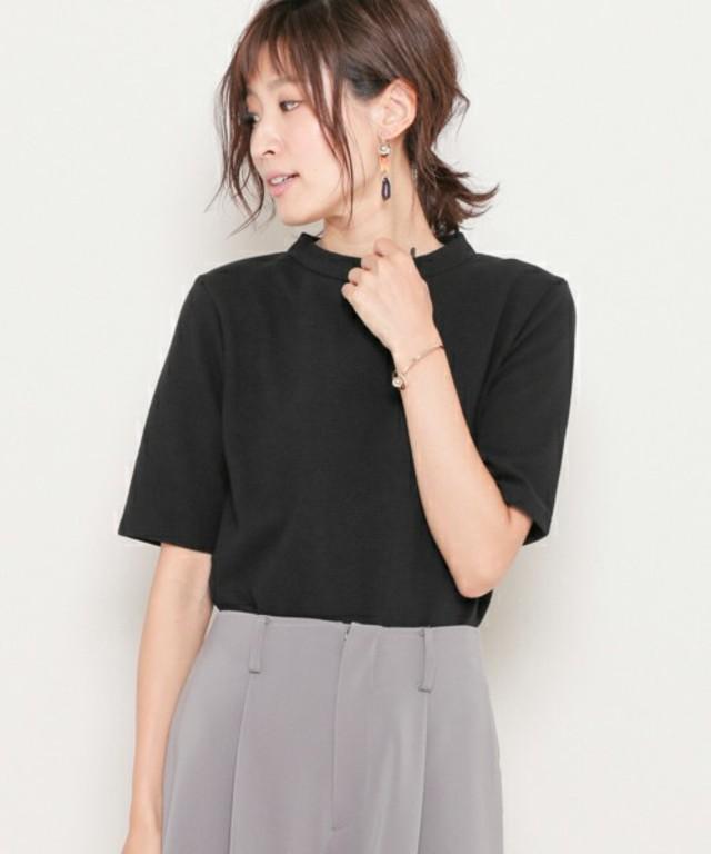 リップルハイネックTシャツ(5分袖)