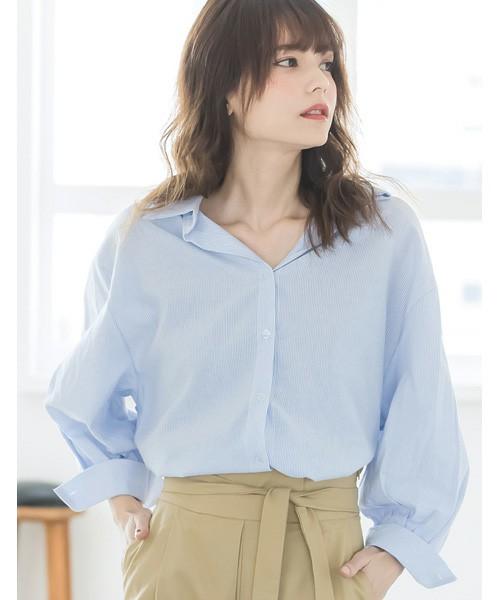 ピンストライプコットン混オーバーサイズシャツ
