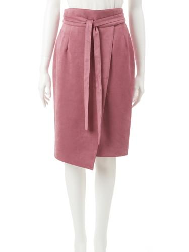 フェイクスウェードベルト付きコクーンスカート