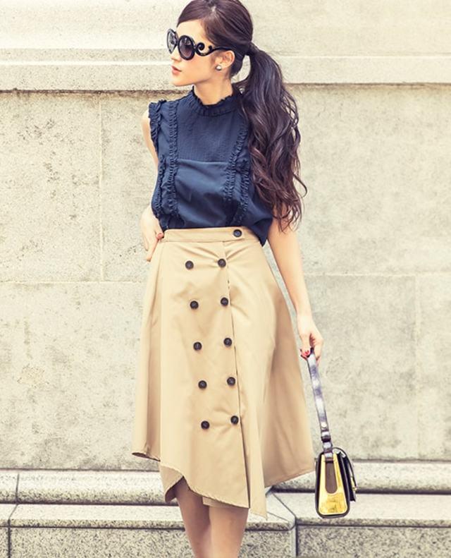 トレンチ風アシンメトリースカート