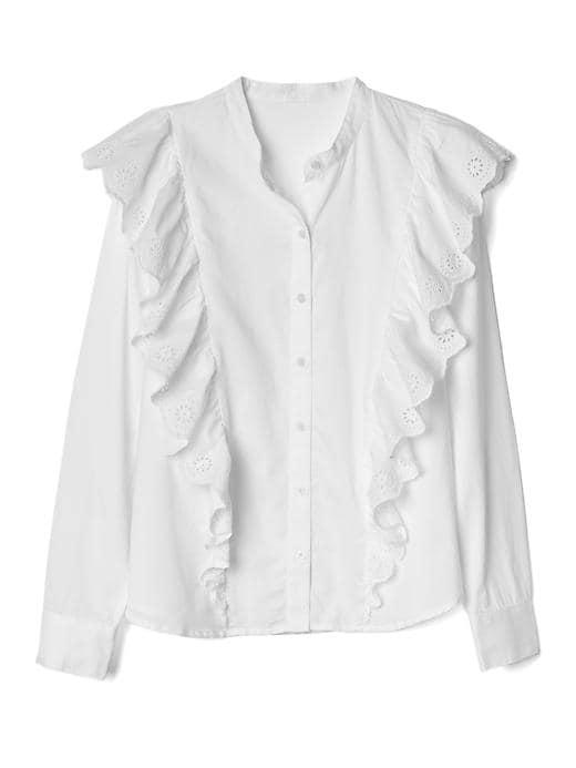 アイレットフリル カスケードシャツ
