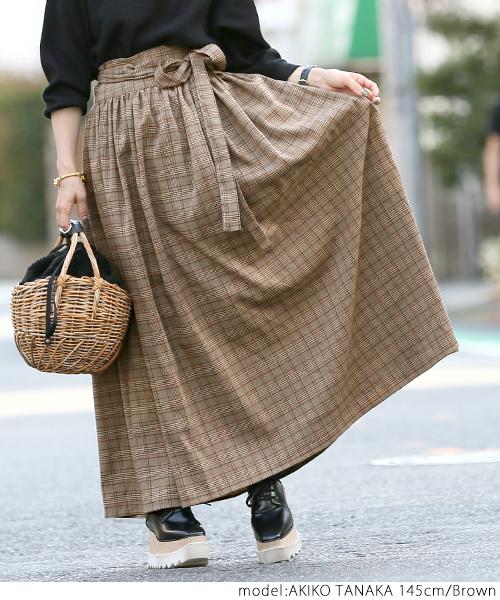 グレンチェック フレアラップスカート