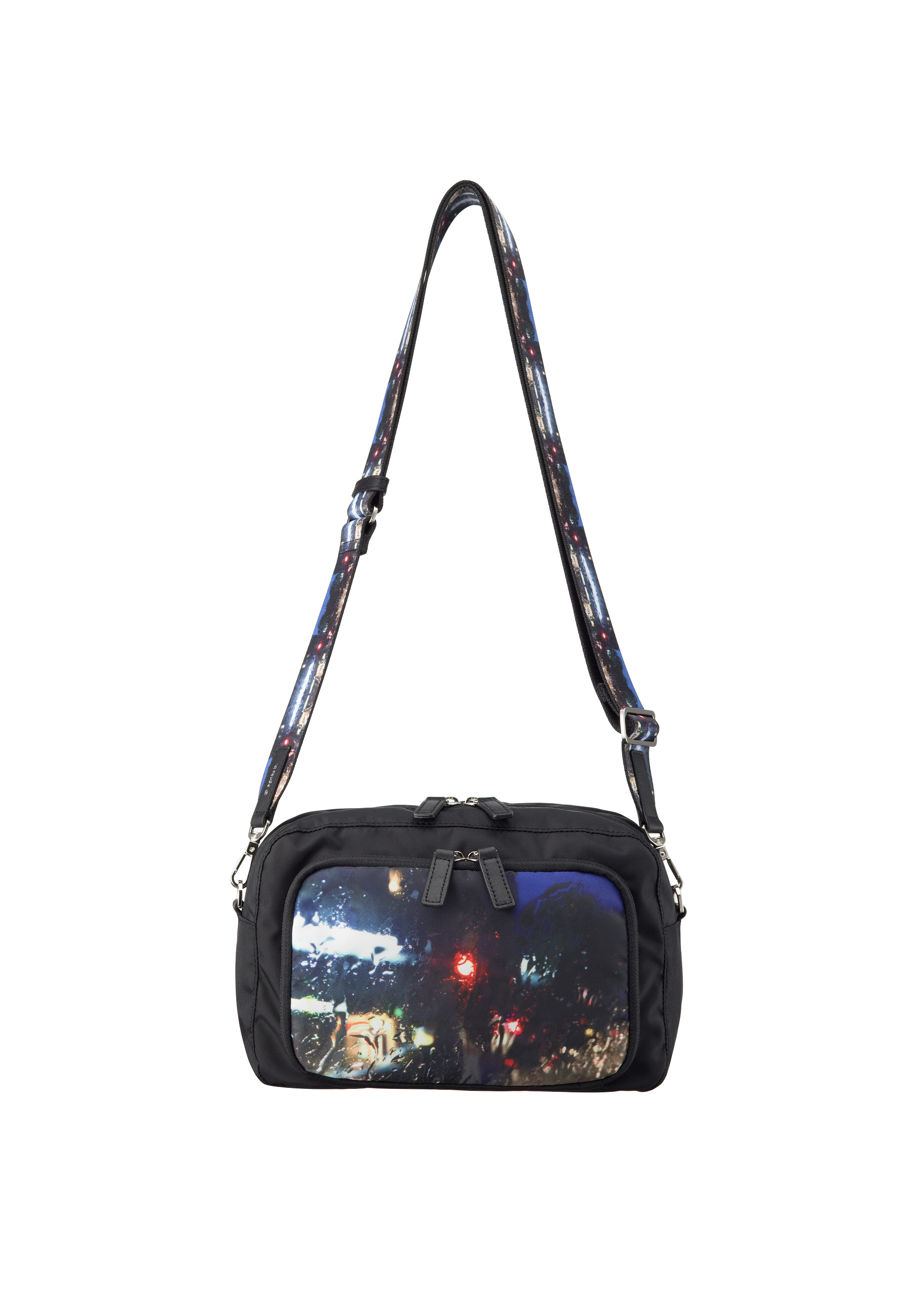photo print nylon shoulder bag with 2belt straps