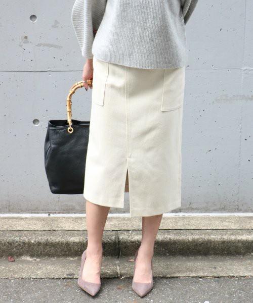 ウールカルゼフロントスライドタイトスカート