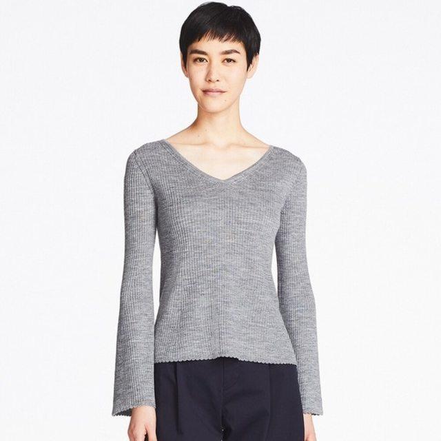 メリノブレンドベルスリーブセーター(長袖)