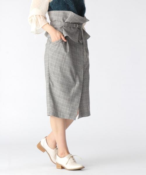 グレンチェック柄ベルト付2WAYタイトスカート