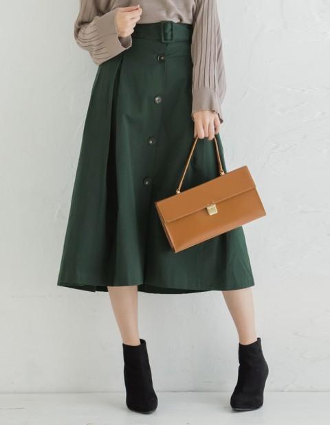 ベルト付きコットンフレアトレンチスカート