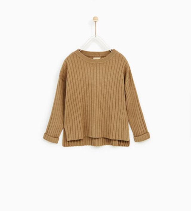 リブ加工入りウールセーター