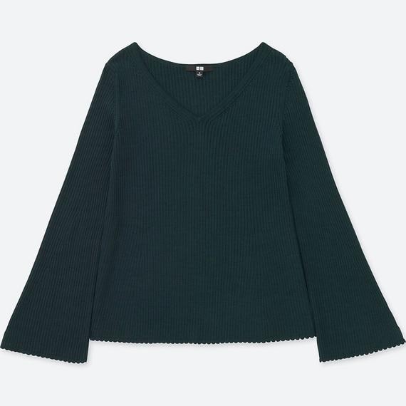メリノブレンドベルスリーブセーター