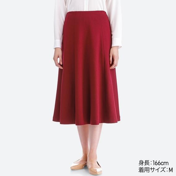 ウールブレンドジャージーボリュームスカート