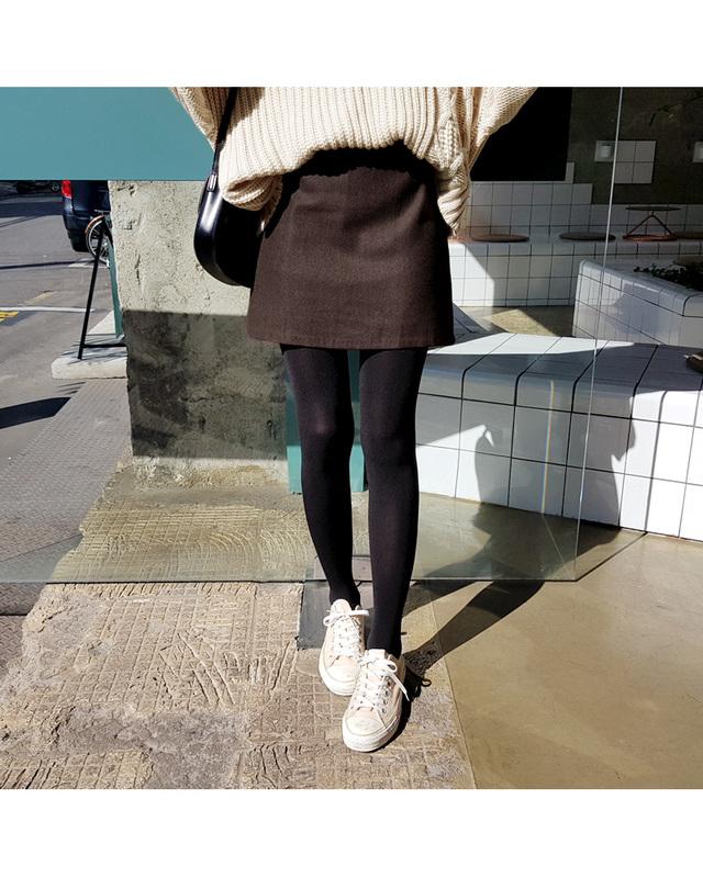 ウールブレンドAラインミニスカート