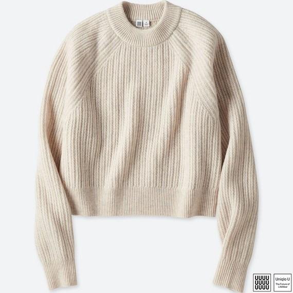 チャンキーリブモックネックセーター