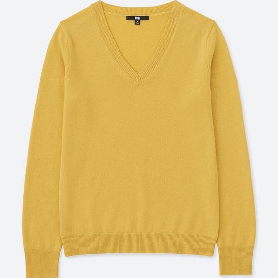 カシミヤVネックセーター(長袖)