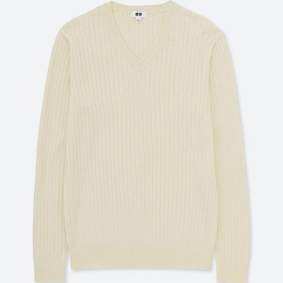 コットンカシミヤリブVネックセーター