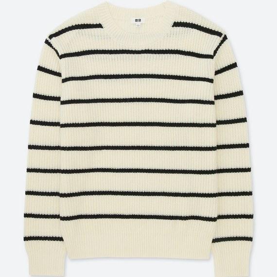 リブボーダークルーネックセーター
