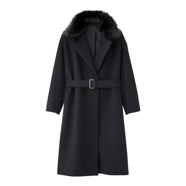 フェイクファー付きベルテッドコート