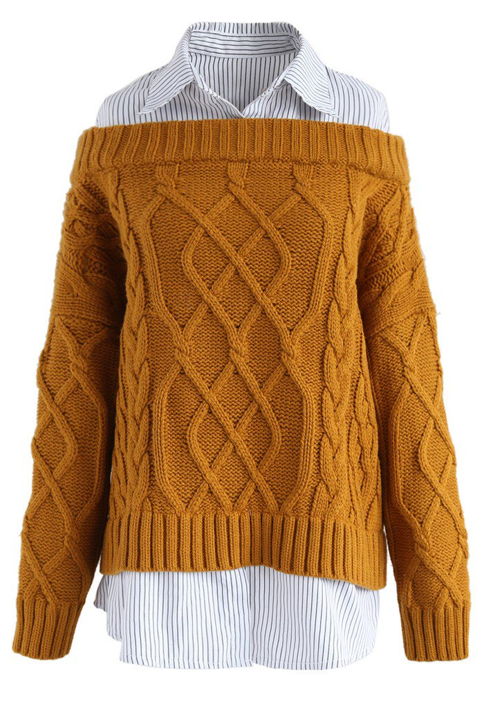 シャツ重ね着風ケーブルニットセーター
