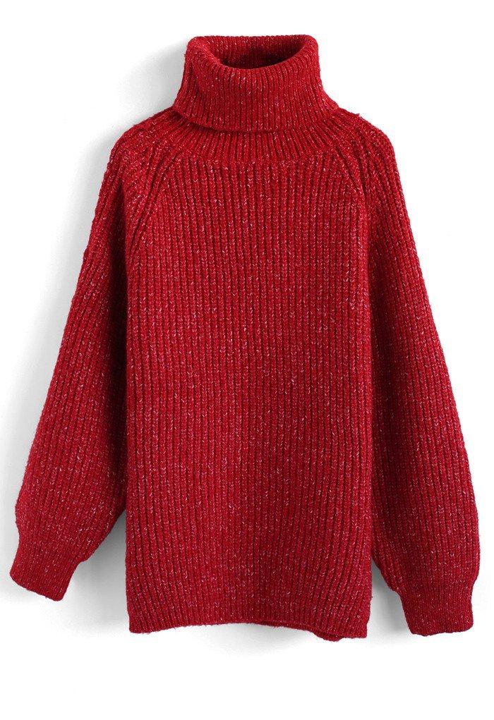 タートルネックリブ編みニットセーター