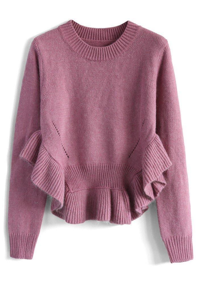 裾フリルセーター