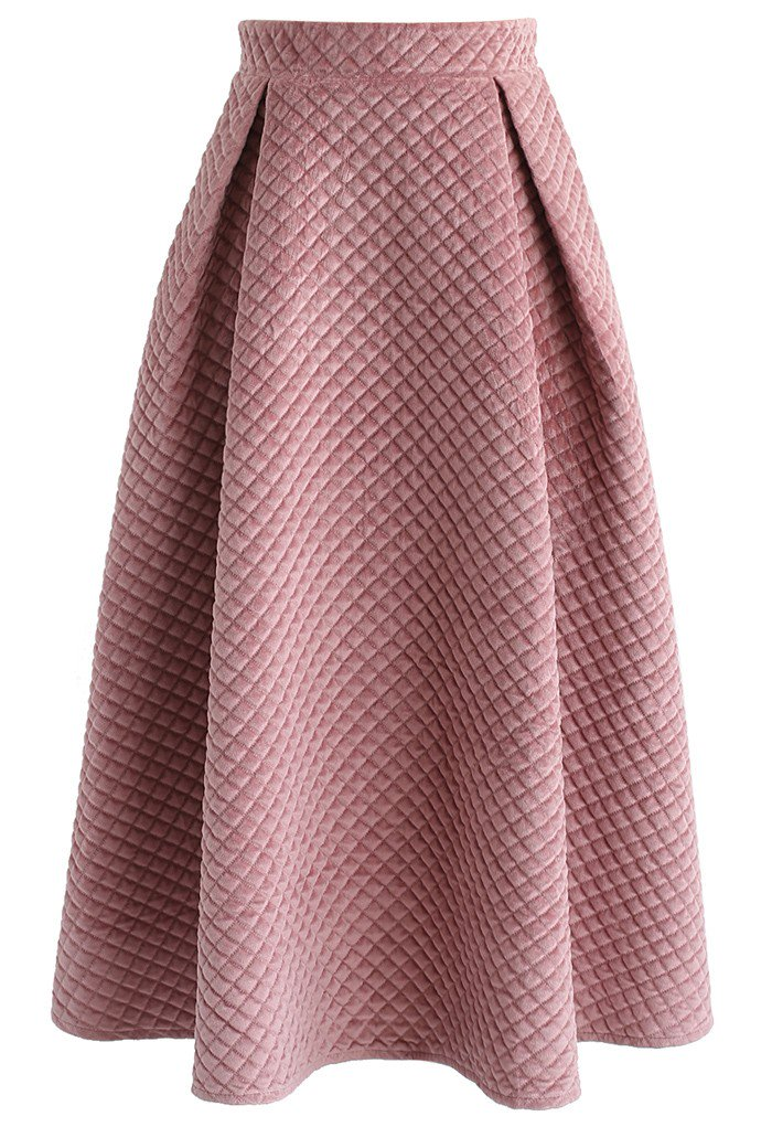 キルト風ベロアスカート