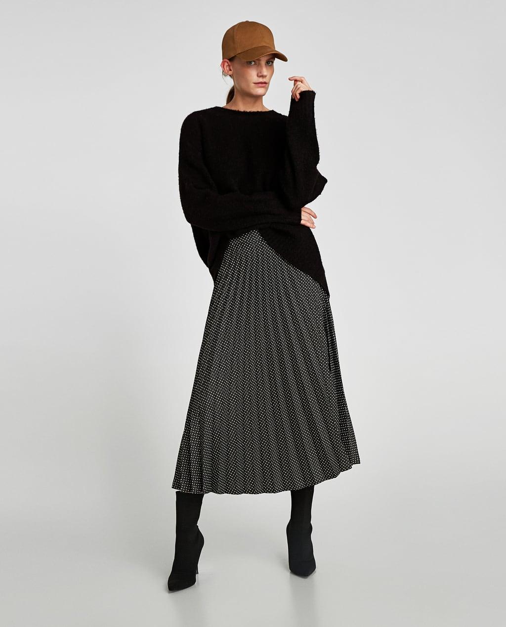 ドット柄プリーツスカート